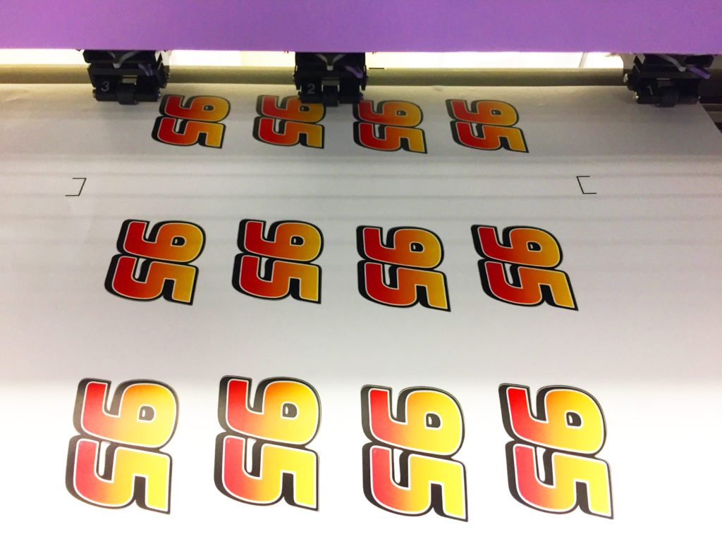 Vinyl sticker being printed