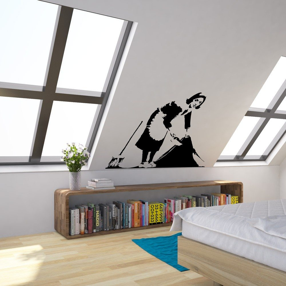 banksy cleaner vinyl wall art decal vinyl revolution. Black Bedroom Furniture Sets. Home Design Ideas
