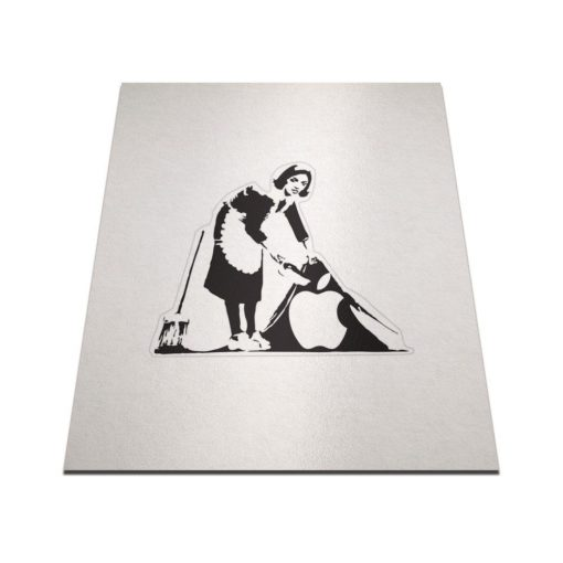 banksy cleaning lady macbook sticker