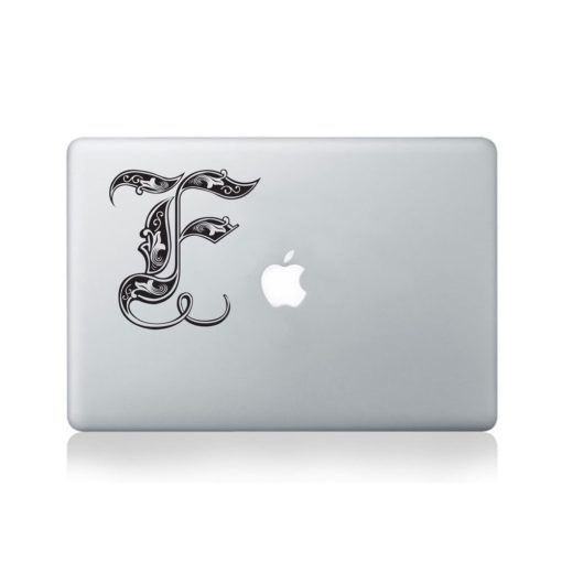 Illuminated Royal Letter F Macbook Decal