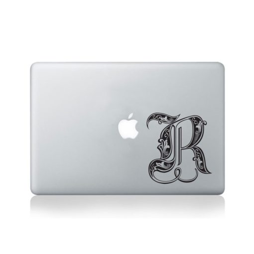 Illuminated Royal Letter R Macbook Decal