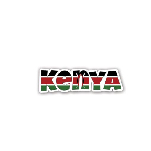Kenya Country Name As Flag Wall Art